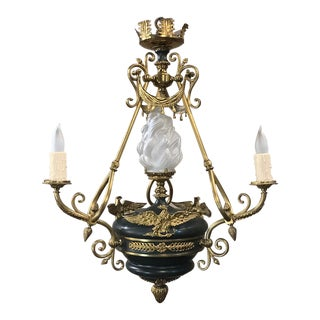 Antique French Empire Chandelier in Bronze and Enamel For Sale