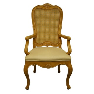 Henredon Furniture Louis XVI French Provincial Cane Back Dining Arm Chair For Sale
