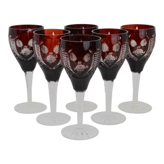 20th Century Bohemian Cranberry Cut Crystal Wine Glasses-Set of 6