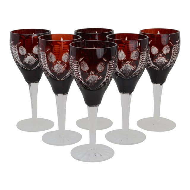 20th Century Bohemian Cranberry Cut Crystal Wine Glasses Set Of 6