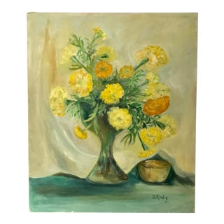 Mid 20th Century Vintage Still Life Flowers Painting by G.Kindig For Sale