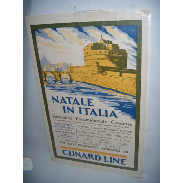 Original Vintage Cunard Line Italy Travel Poster - Image 2 of 3
