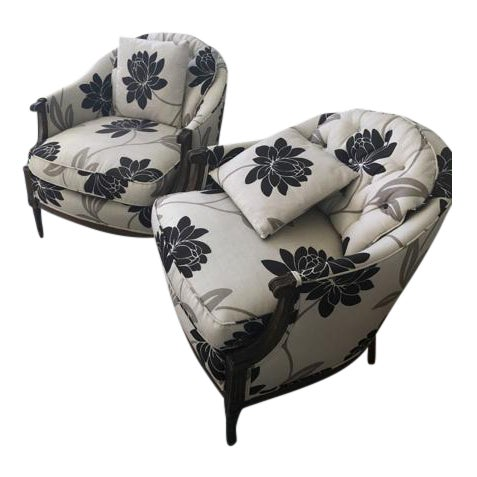 Newly Reupholstered Transitional Accent Chairs - a Pair - Image 1 of 5