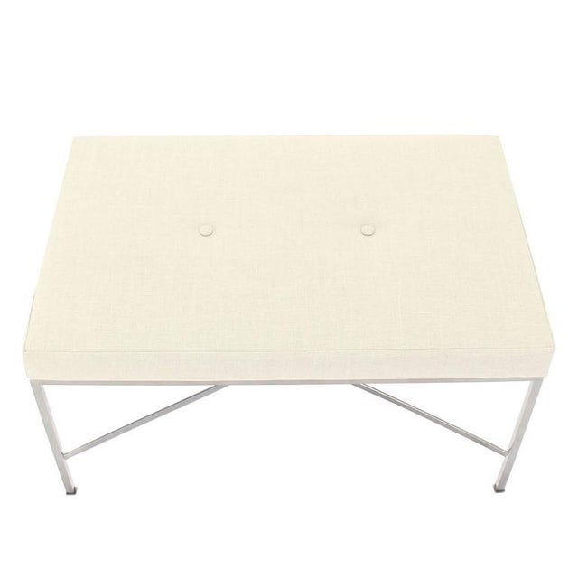 Chrome X-Base Upholstered Top Bench For Sale - Image 4 of 9