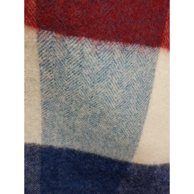 Textile Wool Throw Red Blue White Square Stripes - Made in England For Sale - Image 7 of 12