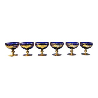 1920s Venetian Cobalt and Gold Stemware - Set of 6 For Sale
