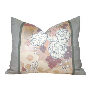 Pastel Floral Japanese Silk Tsujigahana Obi Pillow Cover For Sale