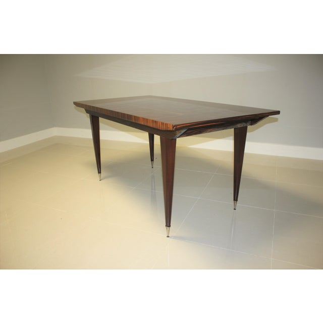 Gold 1940s Art Deco Exotic Macassar Ebony Writing Desk/Dining Table For Sale - Image 8 of 13