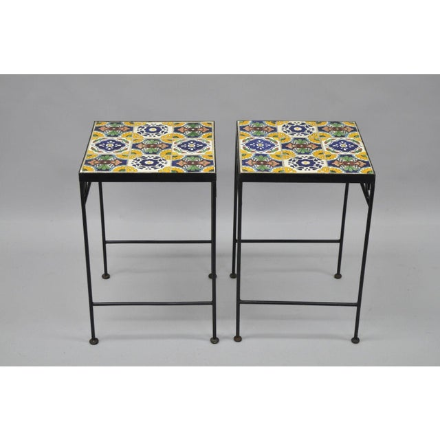 California Style 9 Tile Yellow Blue Green Wrought Iron Side Tables - a Pair - Image 5 of 11