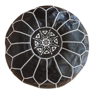 Black Moroccan Leather Pouf For Sale