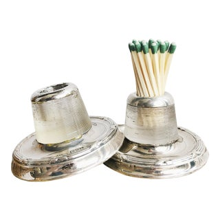 Antique English Sterling Silver and Glass Match Strikers - a Pair For Sale