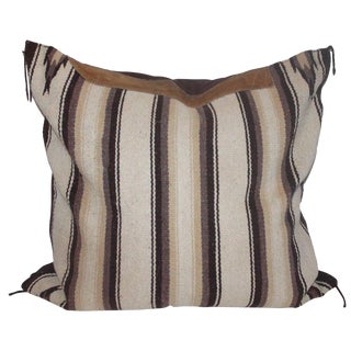 Navajo Indian Weaving Saddle Blanket Pillow With Leather Trim For Sale
