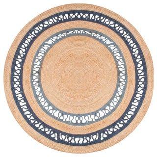 Jaipur Living Elly Natural Bordered Beige & Blue Round Area Rug - 8' X 8' For Sale