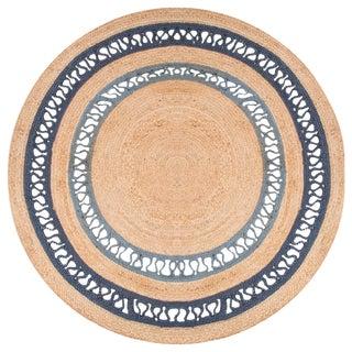 Jaipur Living Elly Natural Bordered Beige & Blue Round Area Rug - 8' X 8' For Sale
