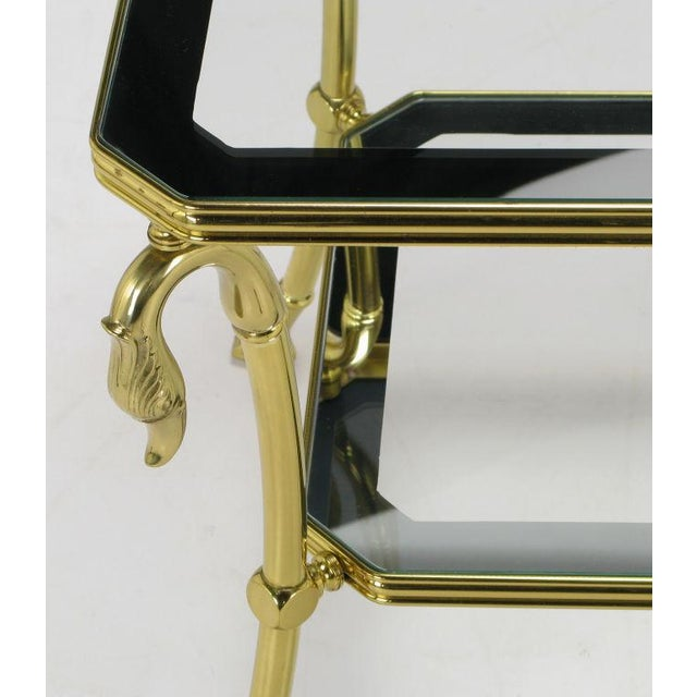 Brass Two-Tier End Table With Swan & Webbed Foot Detail For Sale - Image 4 of 6