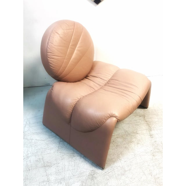 Leather Postmodern Pink Leather Lounge Chair, 1980s For Sale - Image 7 of 8