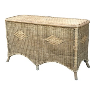 1970s Boho Chic Woven Rattan Console Table For Sale