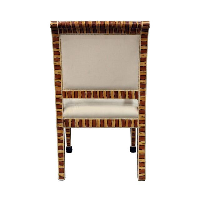 Vintage Mid Century Hand Painted Faux Wood Arm Chair For Sale - Image 4 of 7