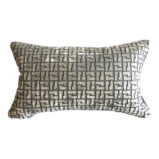 Holly Hunt Geometric Cut Velvet - Interlock Minted Lumbar Pillow For Sale