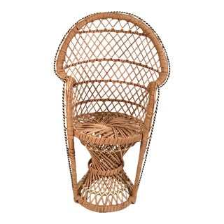 Vintage Wicker Doll Peacock Chair Plant Stand For Sale