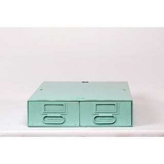 1940s Card Catalog File Drawers, Refinished in Sea Foam Green Preview