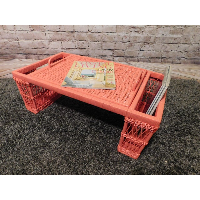 Vintage Coral Painted Wicker Bed Tray - Image 4 of 7