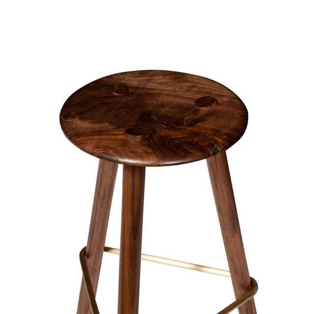 Customizable Erickson Aesthetics Set of Three Walnut Stools For Sale - Image 4 of 5