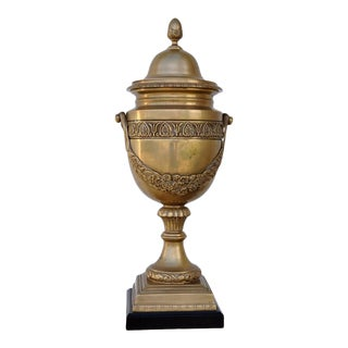 """Large 20"""" Tall French Empire Style Brass Lidded Urn/Vase For Sale"""