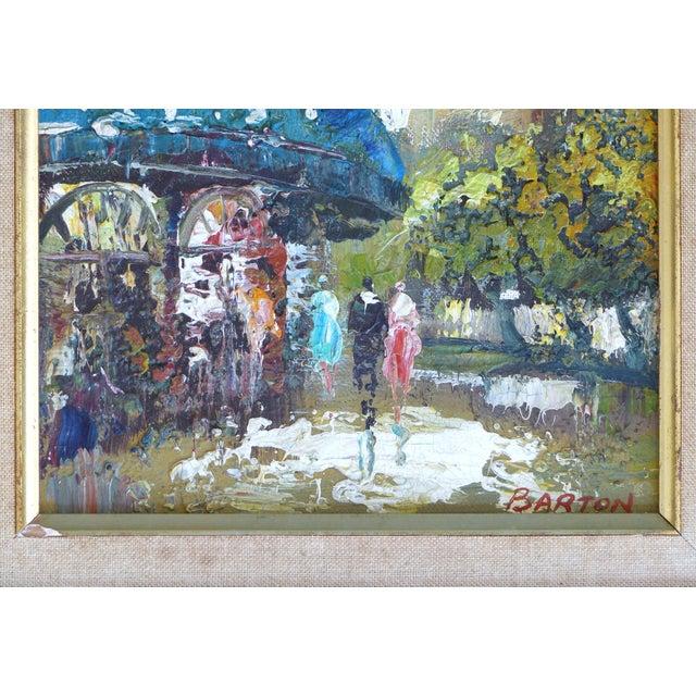 Blue Midcentury Modern Paris Street Scene Oil Paintings- a Pair For Sale - Image 8 of 13