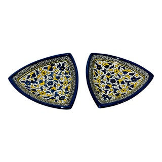 Jerusalem Pottery Hand Painted Serving Dishes Bowls - a Pair For Sale