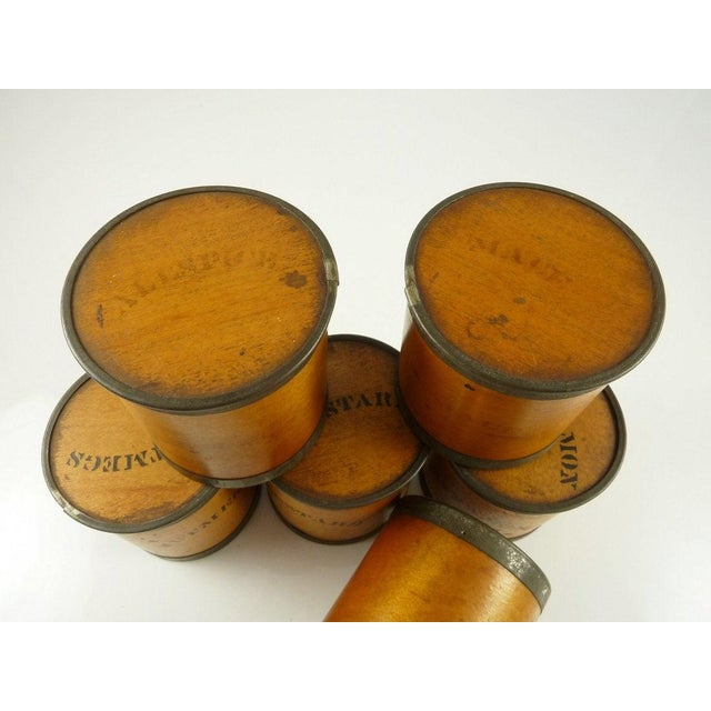 Antique Wood Spice Boxes Set of Six Containers Manufactured by Patent Package Co Allspice Cinnamon Ginger For Sale - Image 4 of 11