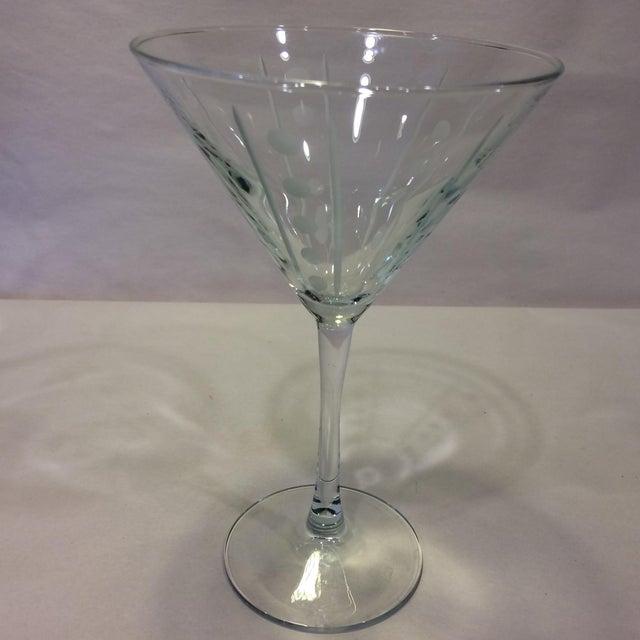 Vintage Etched Crystal Martini Glasses - Set of 4 - Image 3 of 11