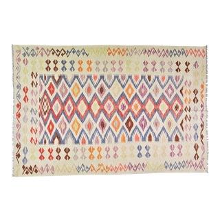 "Afghan Hand Made Organic Wool Maimana Kilim,5'3""x8' For Sale"