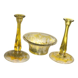 Vintage Yellow Cut & Etched Crystal Candlesticks & Bowl - Set of 3