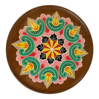 20th Century Vintage Hand Painted Wood Decorative Plate For Sale