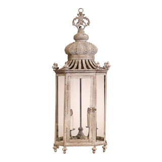 Mid-20th Century French Grey Painted Tole and Iron Four-Light Octagonal Lantern For Sale