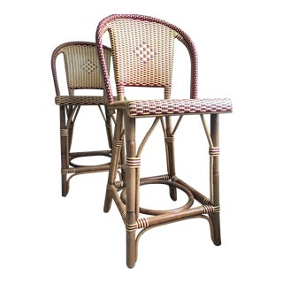 French Bistro Counter Stools - A Pair For Sale