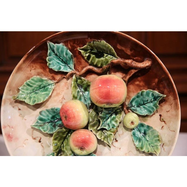Pink 19th Century French Hand-Painted Barbotine Plates With Apples and Pears - a Pair For Sale - Image 8 of 10