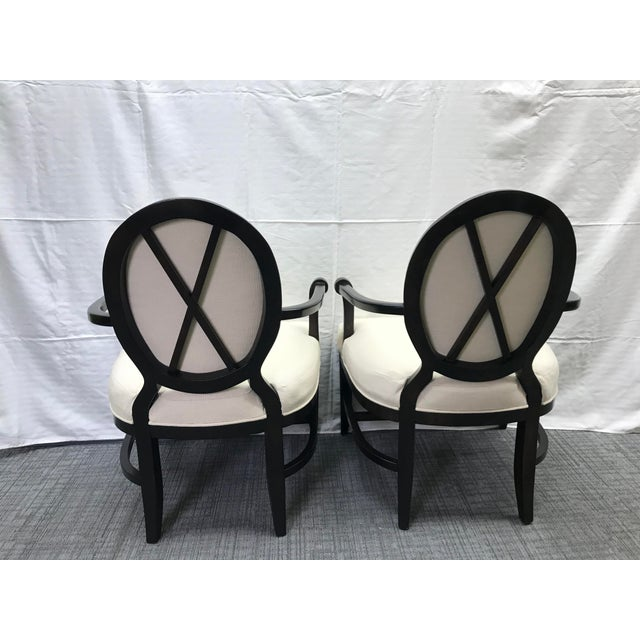 Baker Furniture Company Transitional Barbara Barry Cream Oval X-Back Arm Chairs - a Pair For Sale - Image 4 of 13
