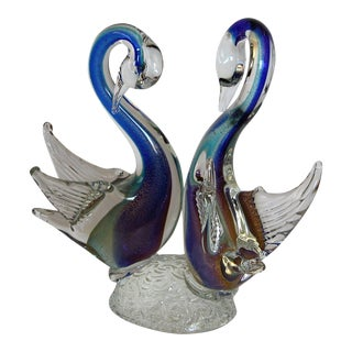 Signed Murano Art Glass Swans