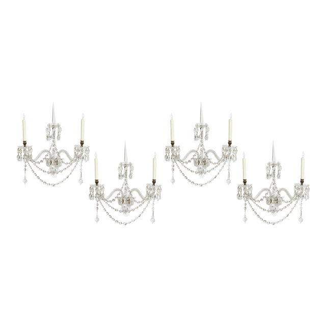 Exceptional Set of 4 Cut-Glass Wall Lights by F. & C. Osler of Birmingham For Sale