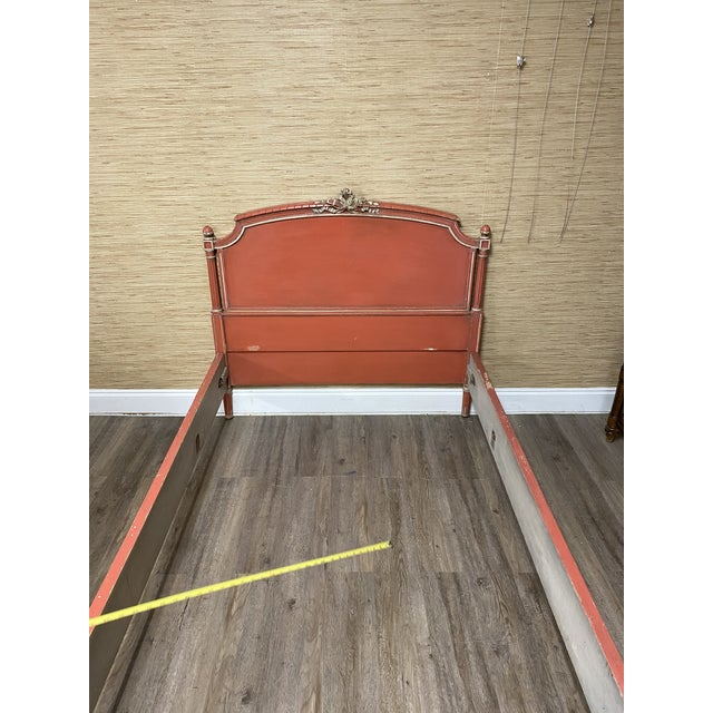 Red Antique French Louis XVI Style Twin Bed For Sale - Image 8 of 11