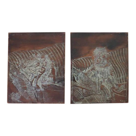 Late 19th Century English Victorian Pyrography Etchings on Charred Wood After Abbott Henderson Thayer - a Pair For Sale