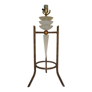 Vintage Sculptural Bronze/Gold Finish Tripod-Metal & Acrylic/Lucite Table Lamp For Sale