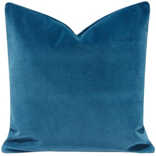 "Teal Cyan Blue Velvet Pillow Cover - 20"" x 20"" For Sale"