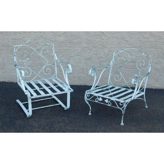 Quality Pair Wrought Iron Garden Armchairs Preview
