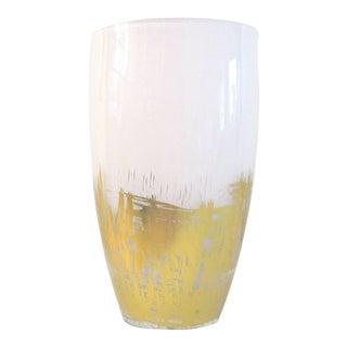 1980s Vintage White & Gold Cased Glass Vase For Sale