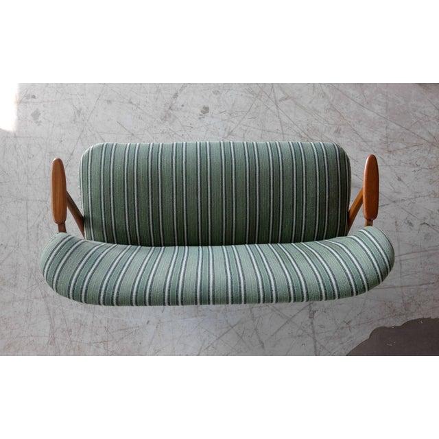 Teak Danish Midcentury Sofa with Teak Armrests in the Style of Kurt Olsen for Bramin For Sale - Image 7 of 9