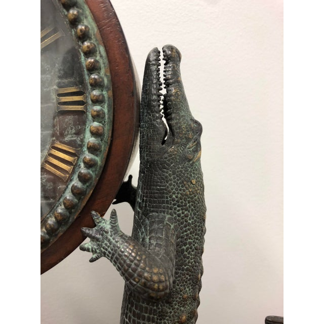 1980s Maitland Smith Bronze and Marble Chiming Alligator Mantle Clock For Sale - Image 5 of 13