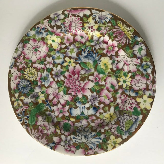 Ceramic Vintage Floral and Gold Chinoiserie Plate For Sale - Image 7 of 7